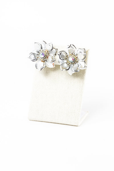 50's__Vintage__Silver Flower Clips