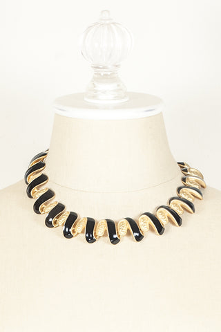 90's__Anne Klein__Black Swirl Necklace