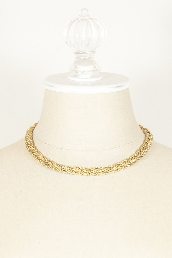 70's__Monet__Mesh Braided Chain Necklace