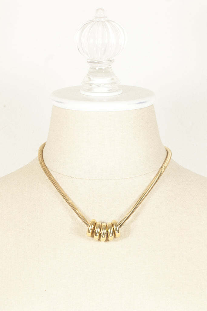 70's__Monet__Snake Chain & Charm Necklace
