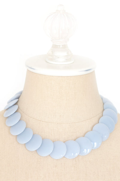 80's__Trifari__Baby Blue Disc Necklace
