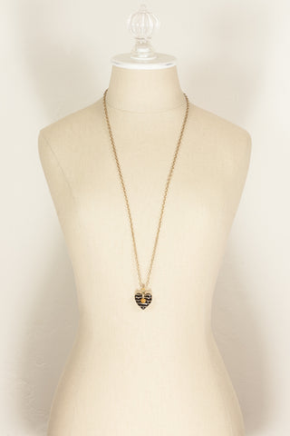 80's__Joan Rivers__Black Enamel Heart Pendant
