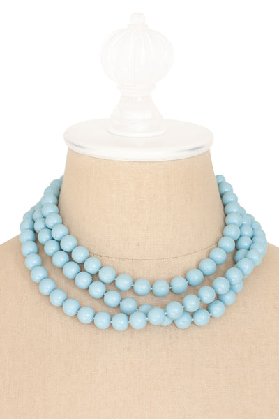 50's__Vintage__Blue Beaded Necklace