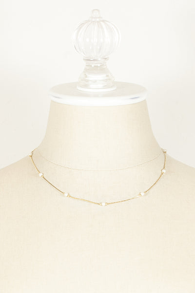 60's__Monet__Dainty Pearl Chain Necklace