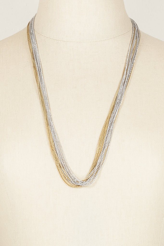 80's__Vintage__Mixed Metal Multi Chain Necklace