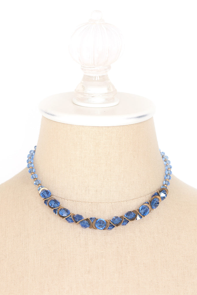 50's__Vintage__Blue Crystal Necklace