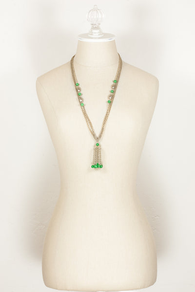 70's__Vintage__Green Beaded Tassel Necklace