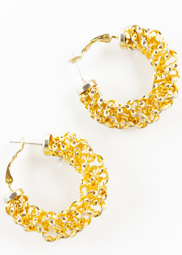90's__Vintage__Chunky Chain Hoop Earrings