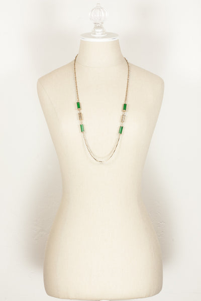 70's__Sarah Coventry__Green Bead Necklace