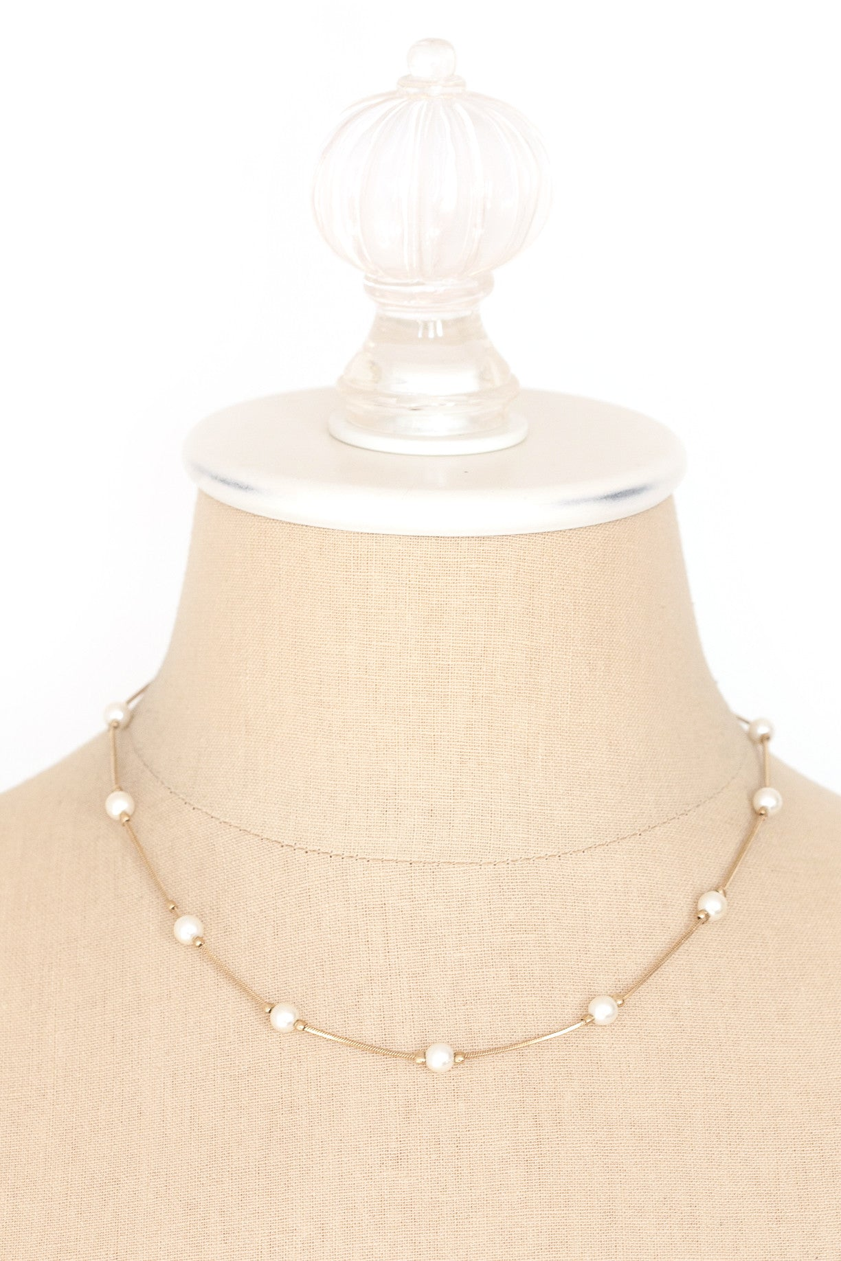 80's__Monet__Dainty Pearl Necklace