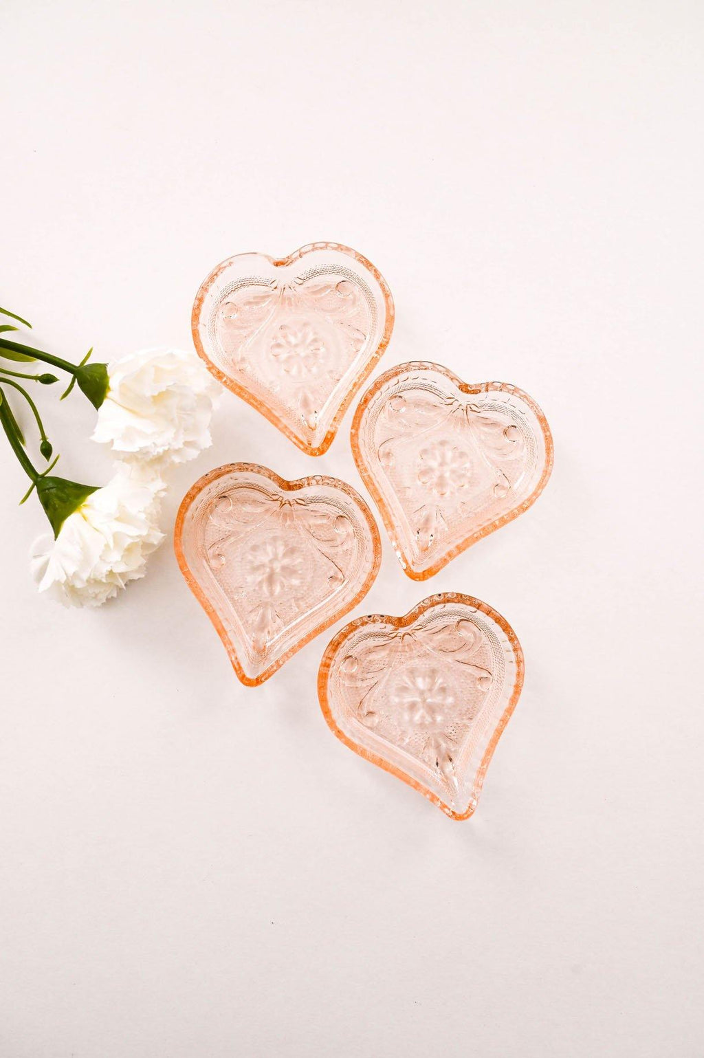 Pink Depression Glass Hearts