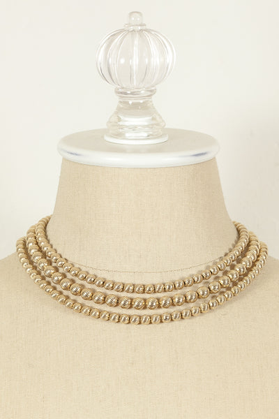 60's__Vintage__Multi Strand Gold Bead Necklace