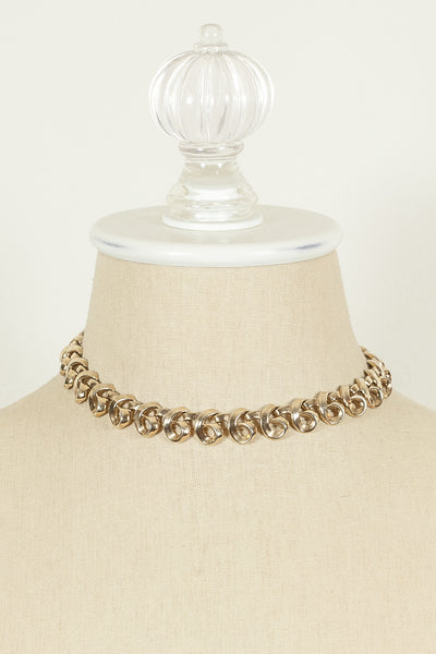 60's__Trifari__Gold Swirl Necklace