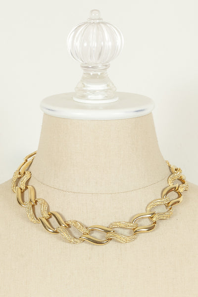 70's__Napier__Etched Swirl Link Necklace