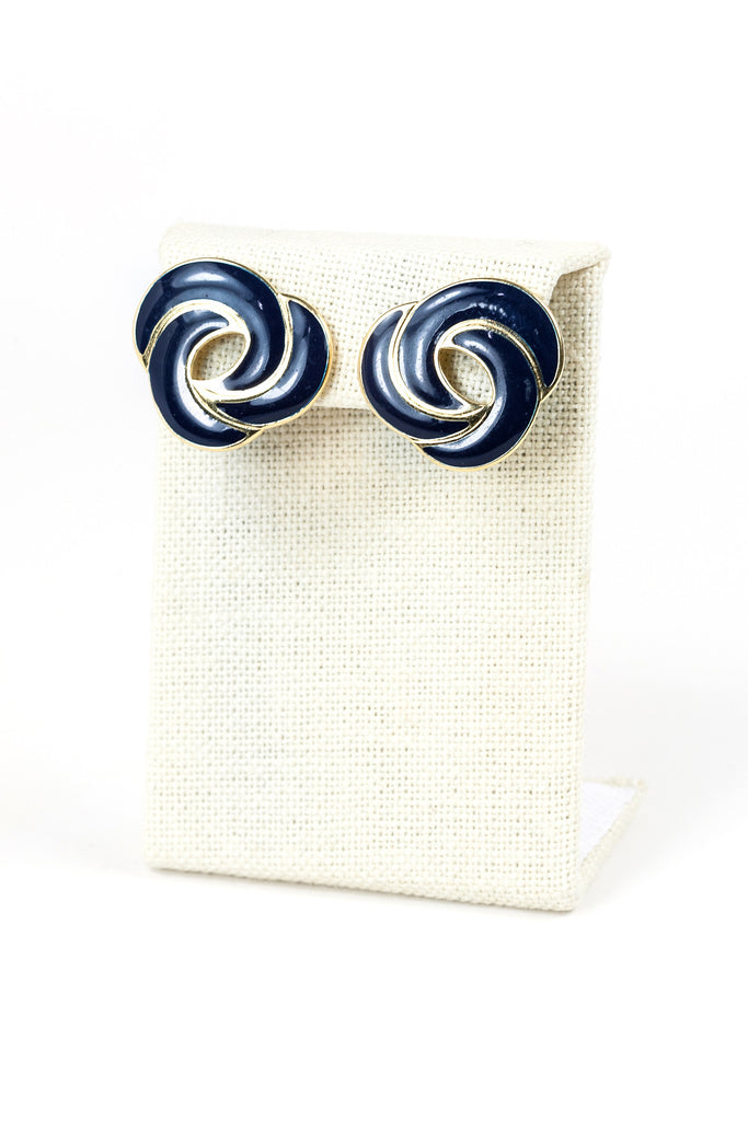 70's__Monet__Navy Swirl Clip On Earrings