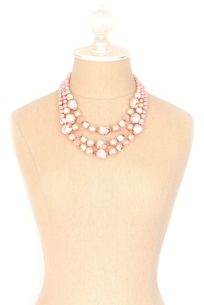 50's__Vintage__Pink and Gold Multi Necklace