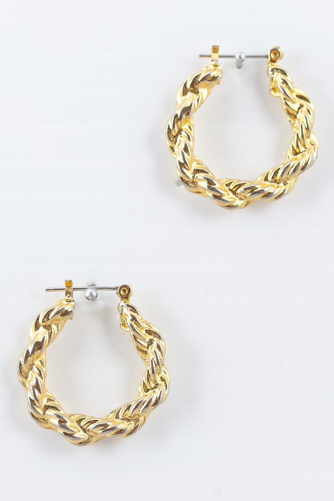 80's__Vintage__Classic Rope Hoop Earrings