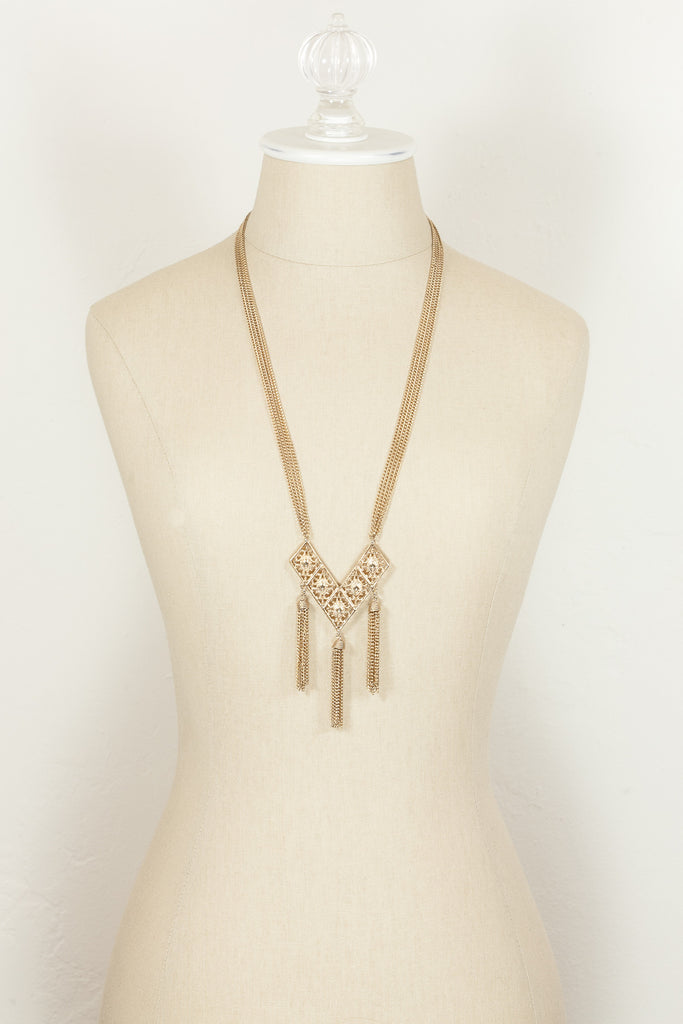 70's__Sarah Coventry__Triple Tassel Necklace