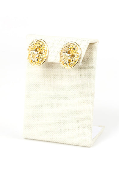 60's__Sarah Coventry__Gold Floral Earrings