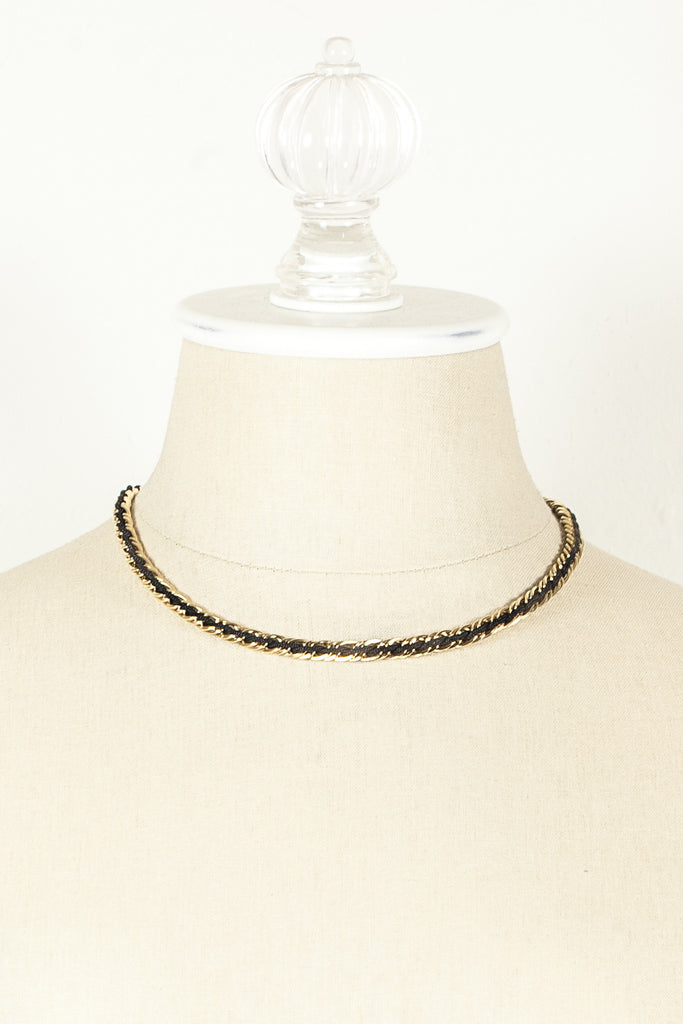 70's__Trifari__Gold & Black Chain Necklace