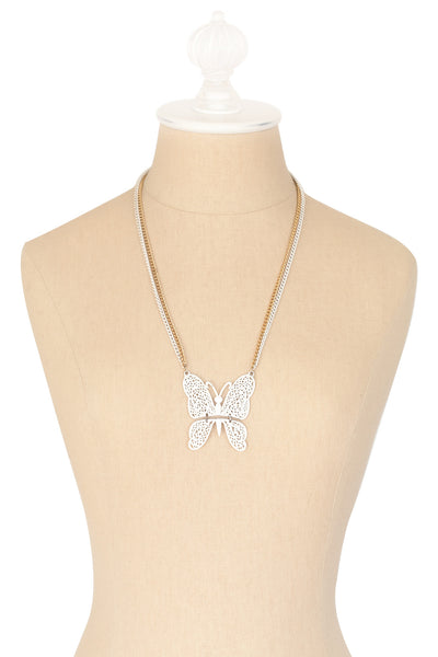 70's__Vintage__White Butterfly Necklace