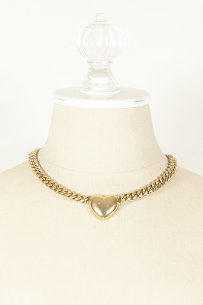 70's__Vintage__Curb Chain Heart Pendant Necklace