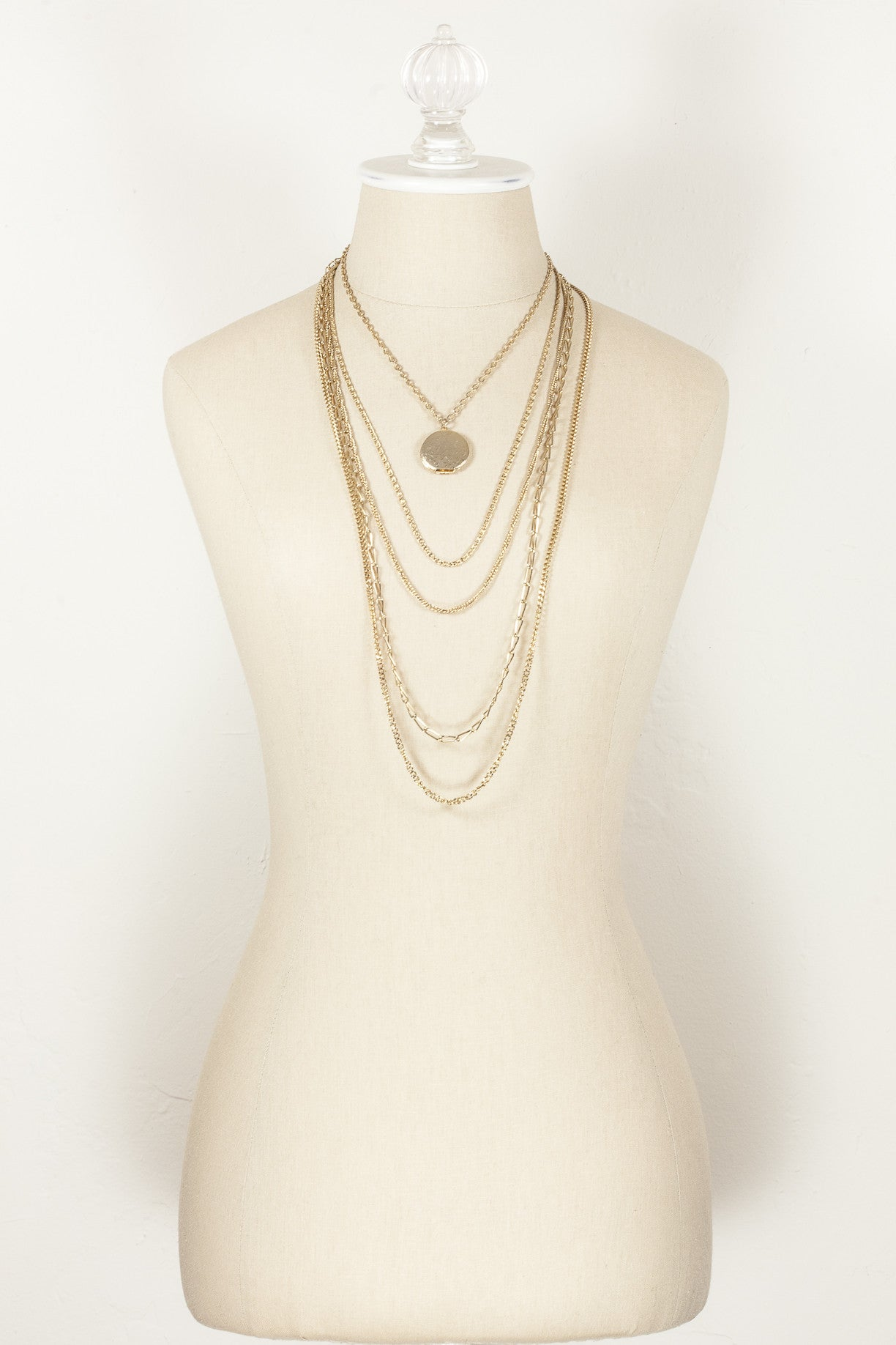 70's__Vintage__Multi Chain Locket Necklace