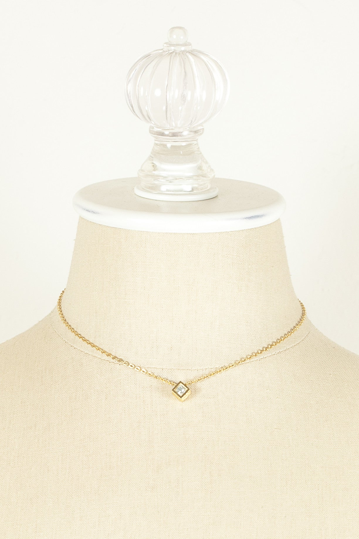 70's__Trifari__Dainty Diamond Charm Necklace