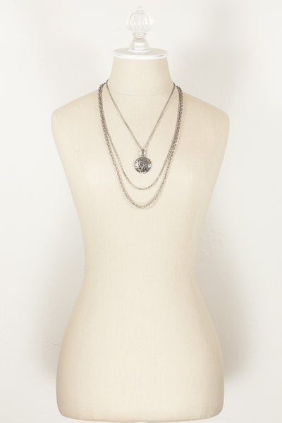 80's__Vintage__Silver Multi Chain Pendant Necklace