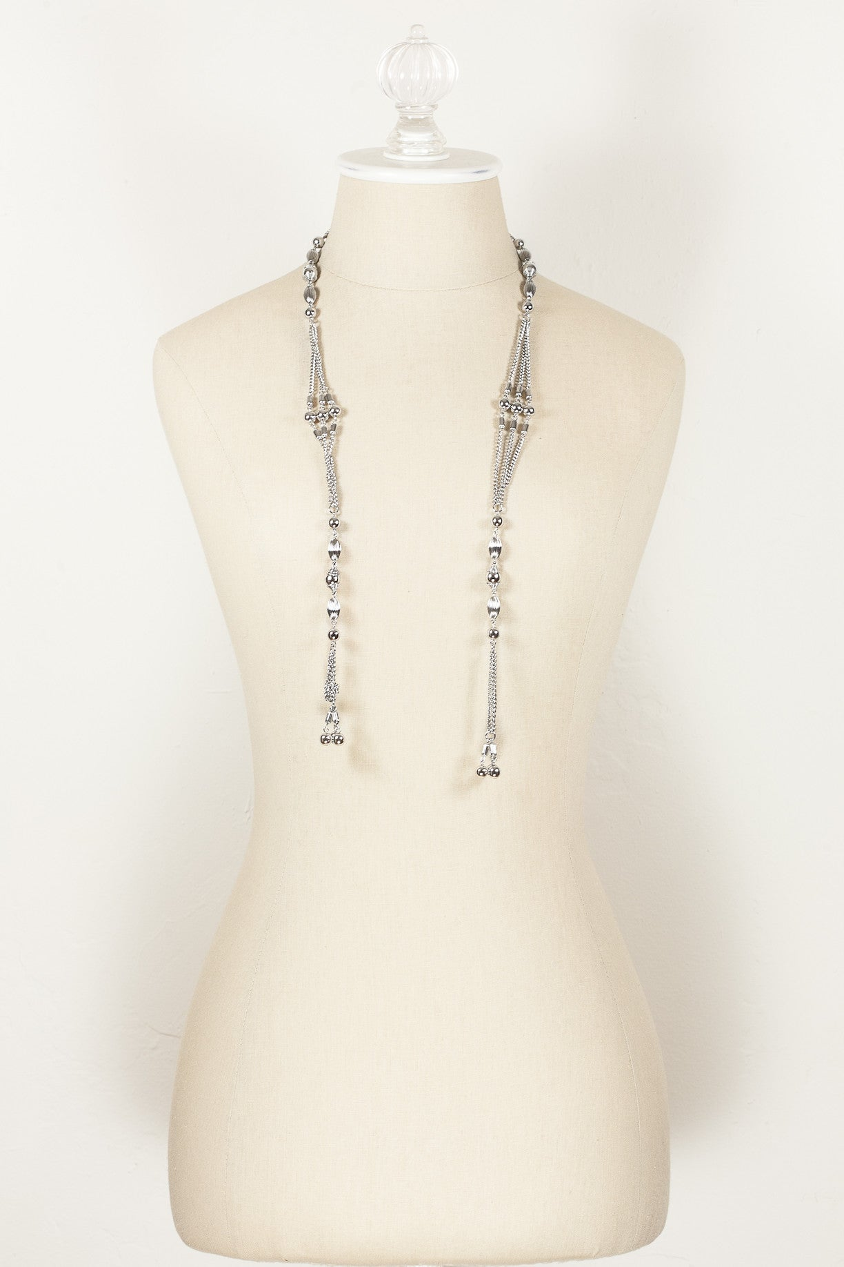 70's__Sarah Coventry__Silver Open Tassel Necklace