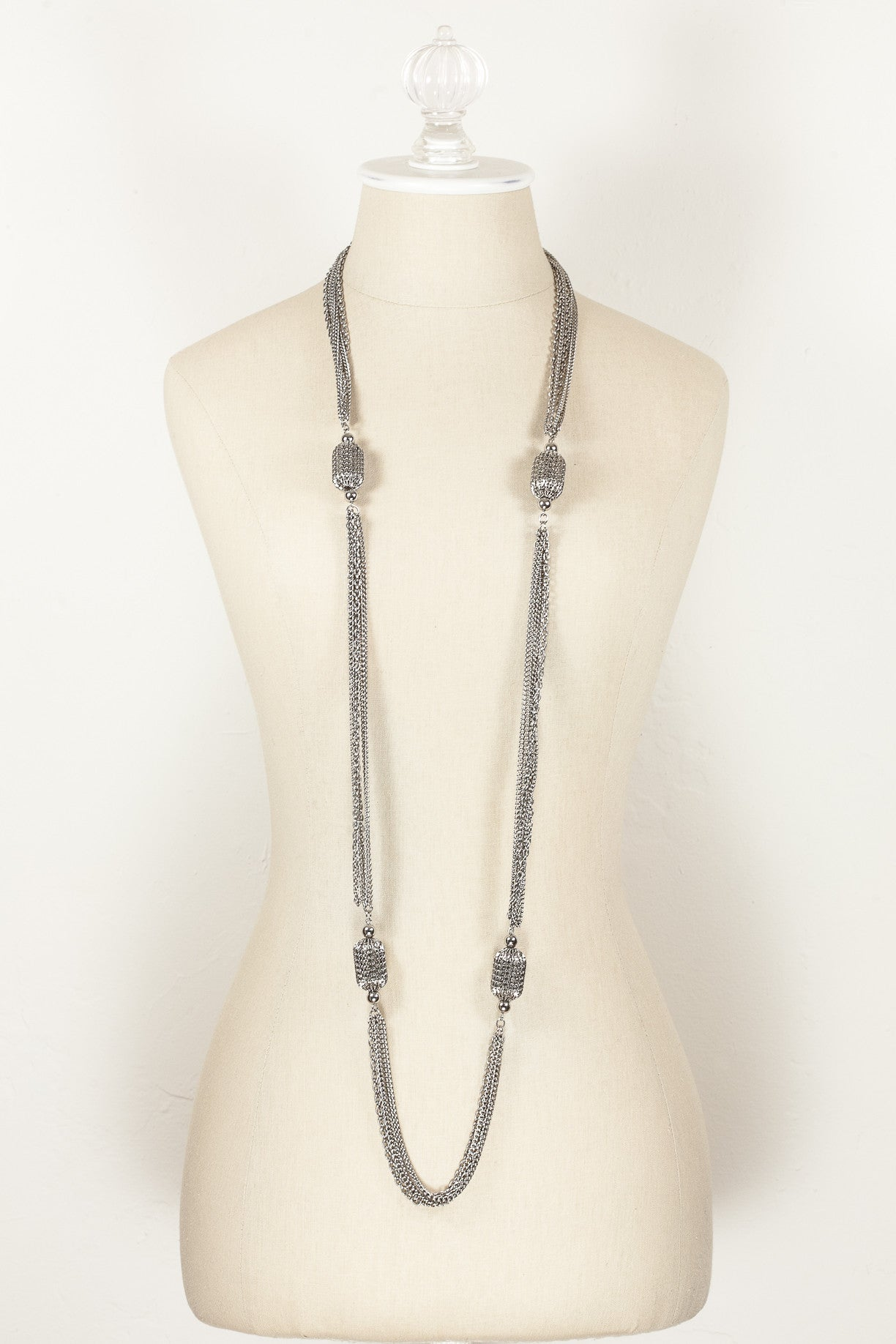 70's__Vintage__Silver Multi Chain Bead Necklace