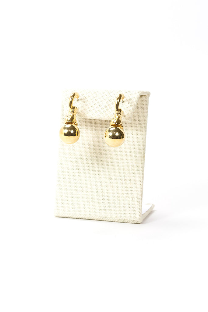 70's__Vintage__Gold Ball Drop Earrings