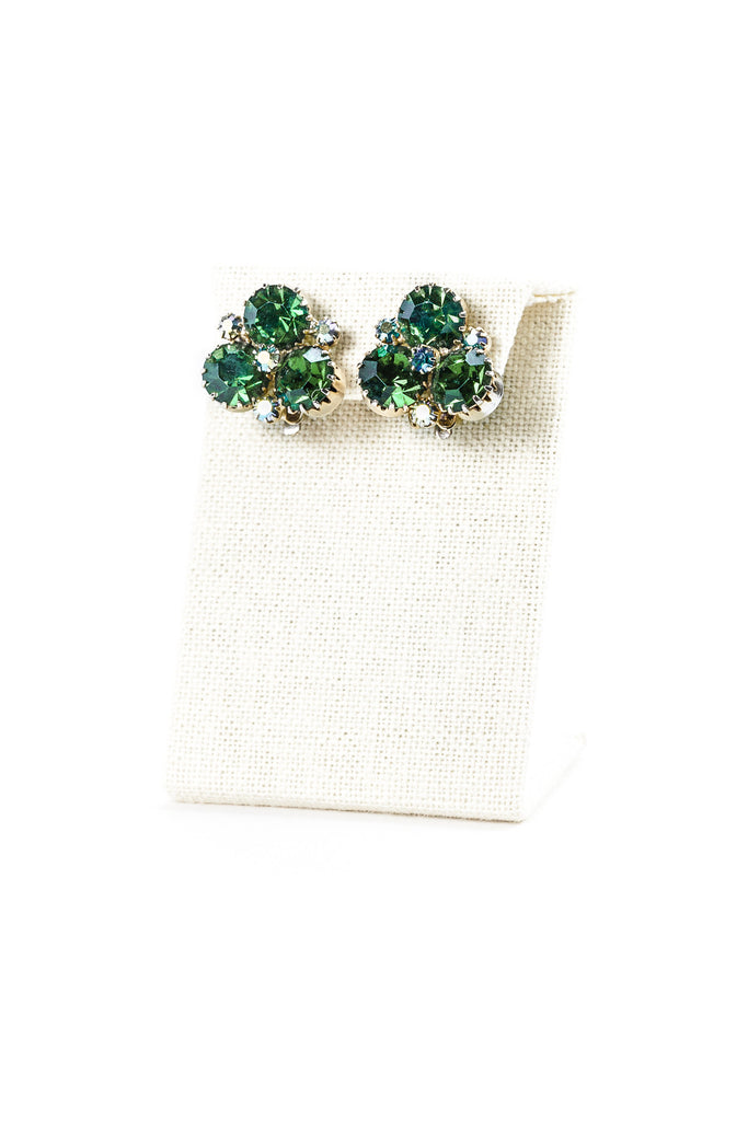 60's __Vintage__Emerald Green Rhinestone Clips