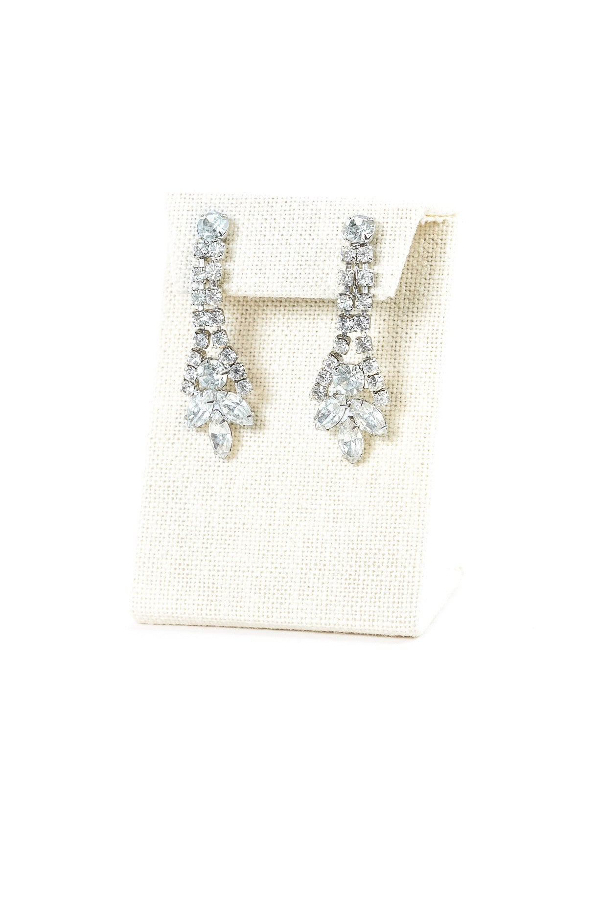 60's__Vintage__Statement Rhinestone Drop Clips
