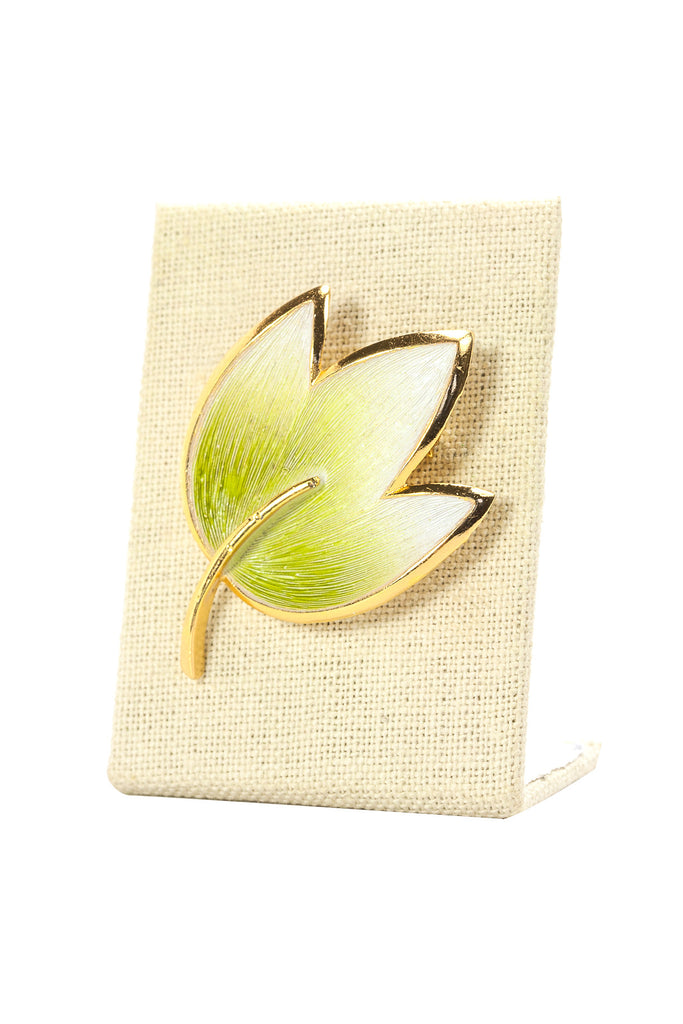 60's__Alan J__Green Painted Leaf Brooch