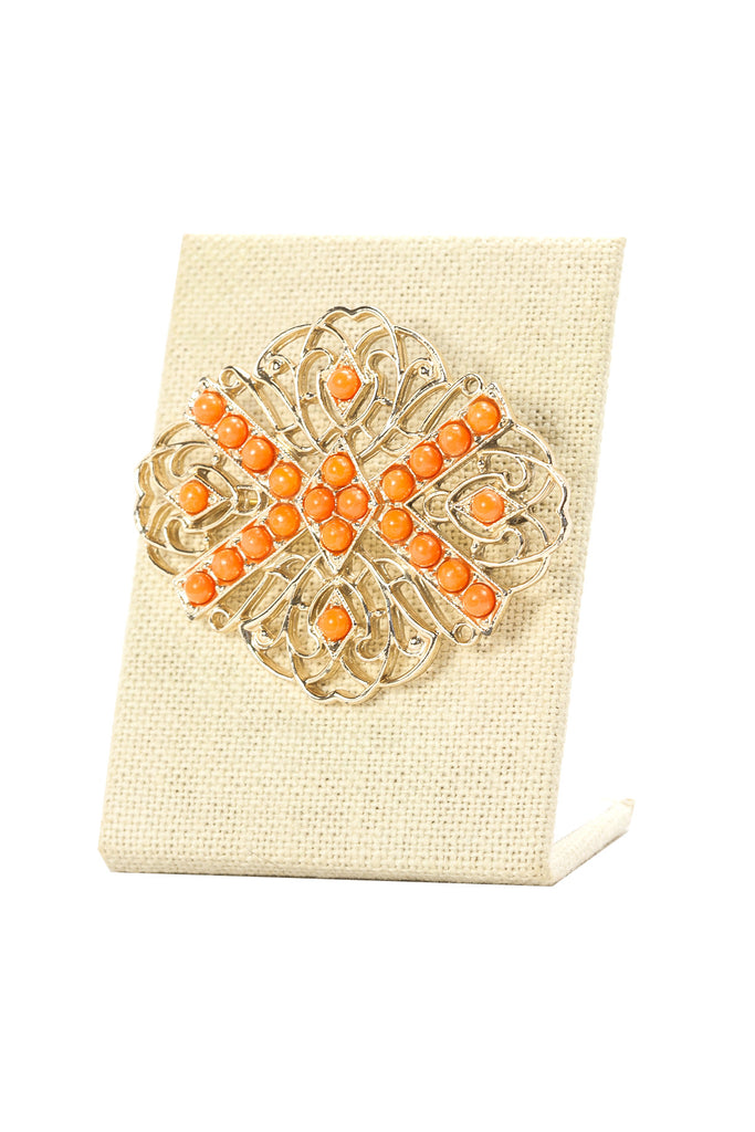 60's__Sarah Coventry__Orange Stones Brooch