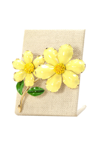 60's__Vintage__Yellow Painted Floral Brooch