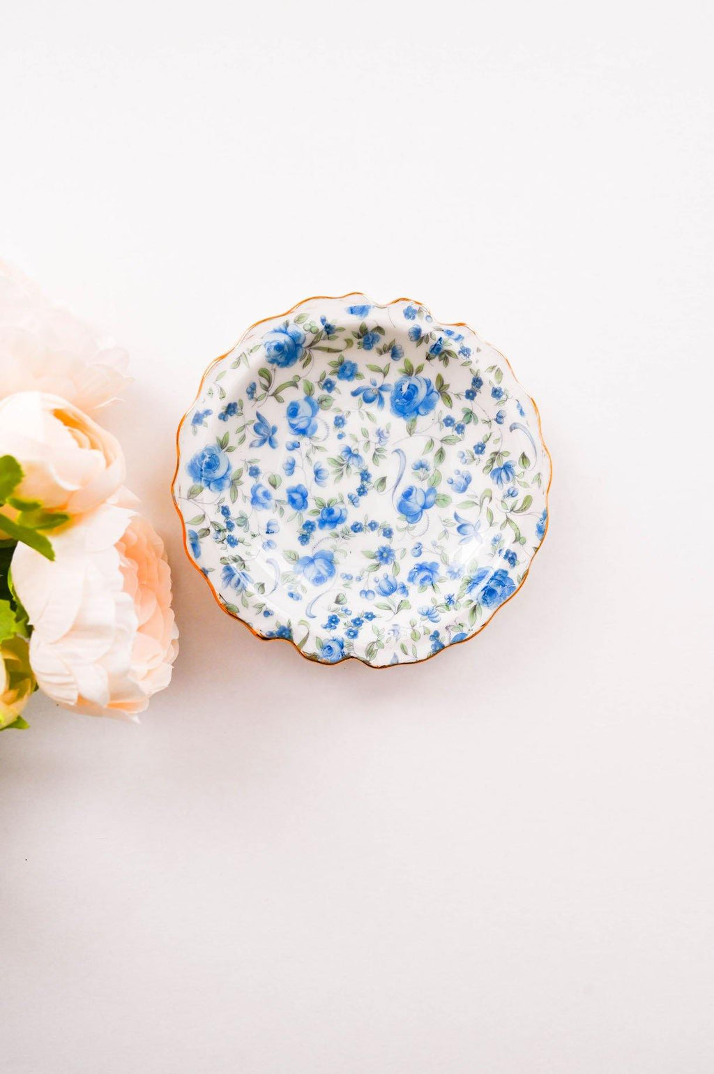 Blue Floral Trinket Tray
