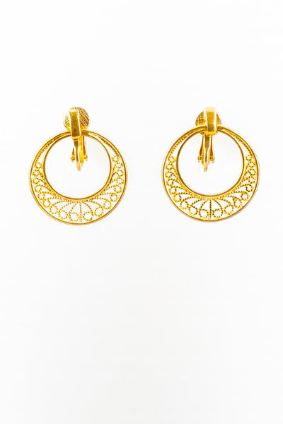 50's__Napier__Open Lace Circle Earrings