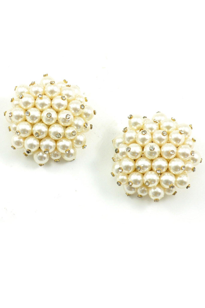 60s__Vintage__Pearl Bauble Clip-On Earrings