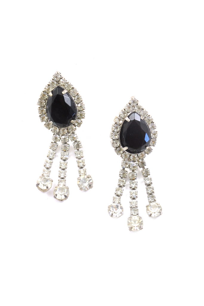 60s__Vintage__Statement Rhinestone Pierced Earrings