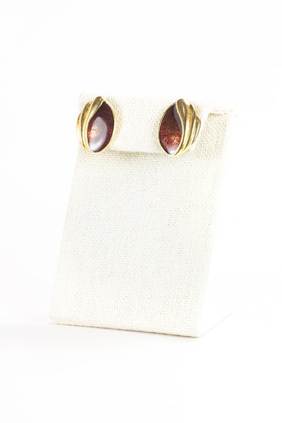 70's__Vintage__Amber Enamel Shell Earrings