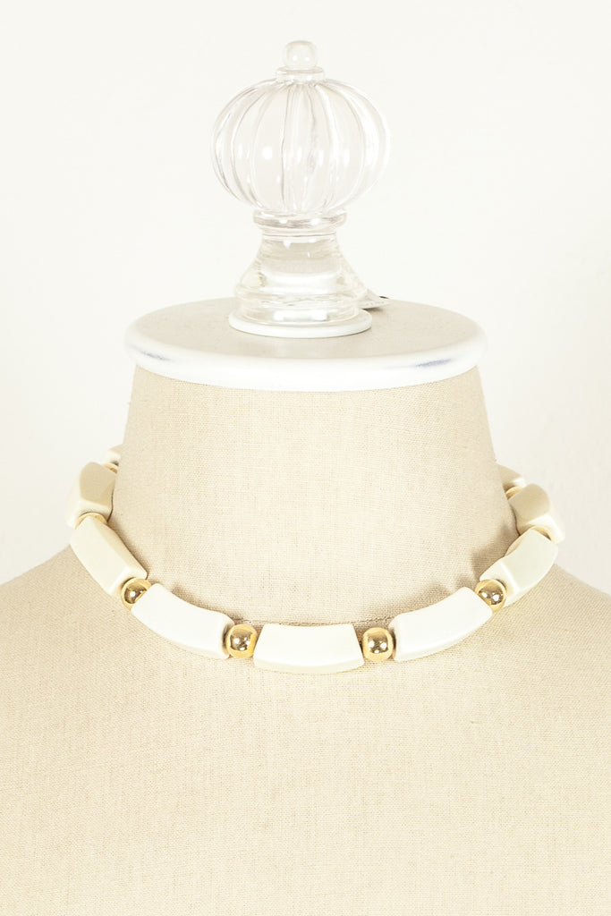 60's__Napier__White Bead & Gold Necklace