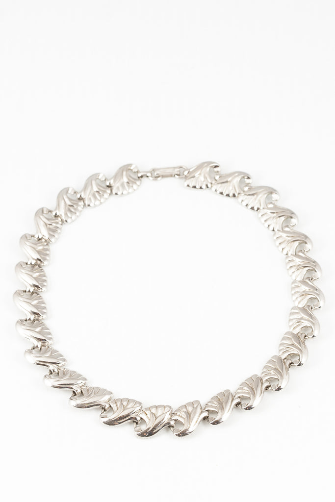 60's__Marino__Silver Wave Bib Necklace