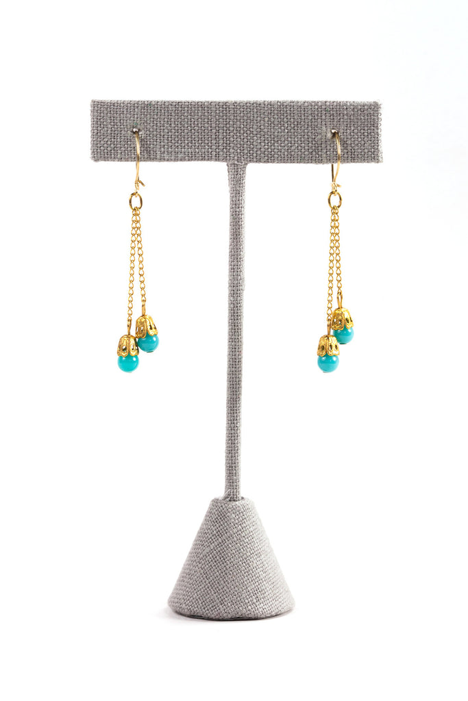 70's__Vintage__Dainty Teal Drop Earrings