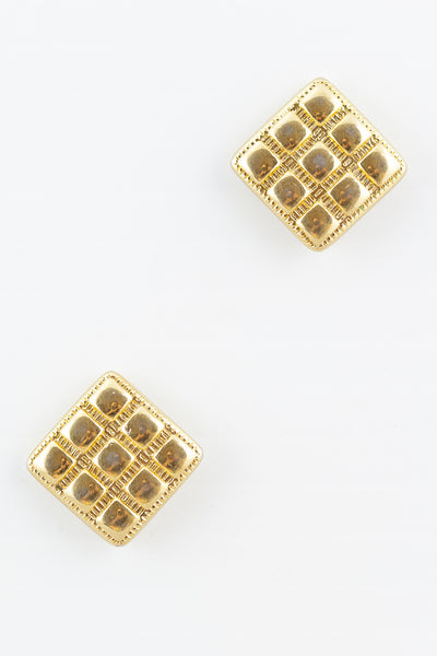 70's__Monet__Stamped Round Square Earrings