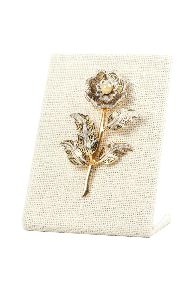50's__Spain__Pearl Floral Brooch