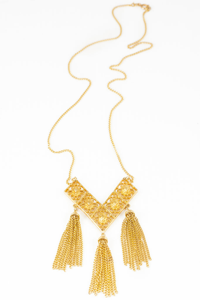 70's__Sarah Coventry__Long V Tassel Necklace