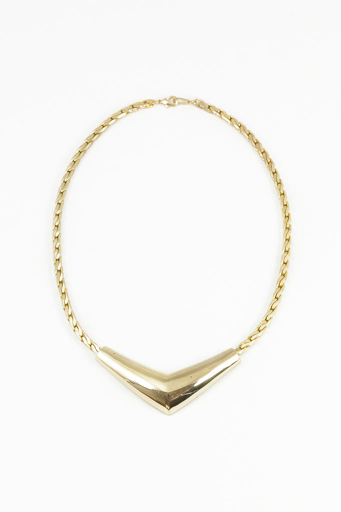 70's__Vintage__Bold V Bar Necklace