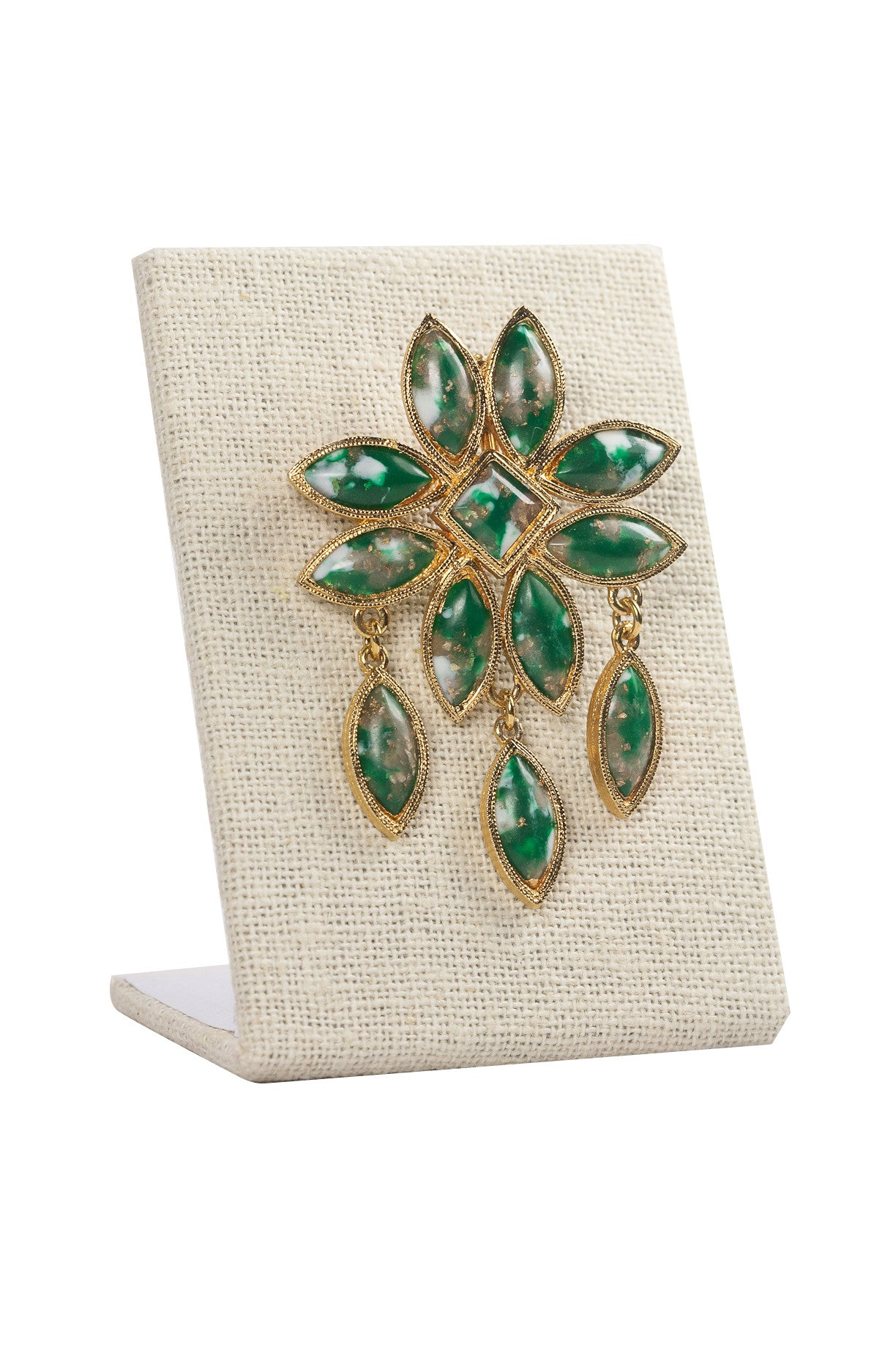 60's__Celebrity__Green Fringe Brooch